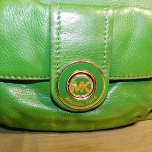MICHEAL KORS Authentic Green Leather Purse